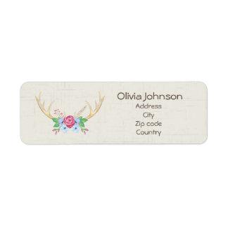 Watercolor Deer Antlers with Floweres Customizable Return Address Label