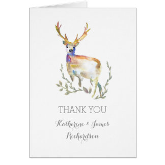 watercolor deer rustic woodland wedding thank you card