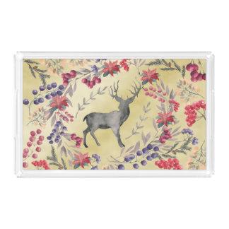 Watercolor Deer Winter Berries Gold Acrylic Tray