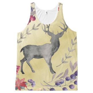 Watercolor Deer Winter Berries Gold All-Over-Print Tank Top