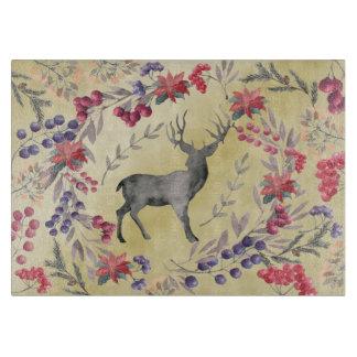 Watercolor Deer Winter Berries Gold Boards