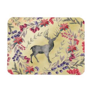Watercolor Deer Winter Berries Gold Magnet
