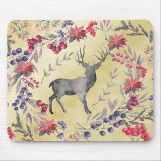 Watercolor Deer Winter Berries Gold Mouse Pad