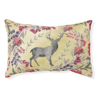 Watercolor Deer Winter Berries Gold Pet Bed