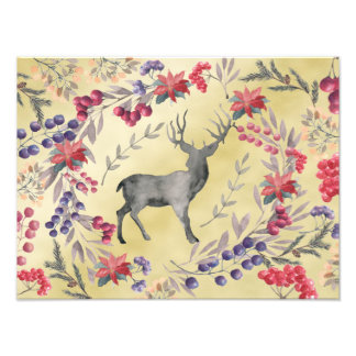 Watercolor Deer Winter Berries Gold Photo Print