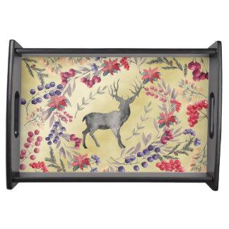 Watercolor Deer Winter Berries Gold Serving Tray