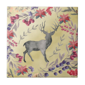 Watercolor Deer Winter Berries Gold Tile