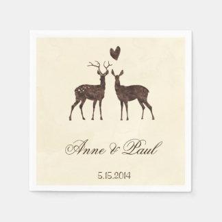 Watercolor deers Wedding Napkin Disposable Napkin