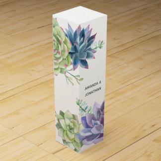Watercolor Desert Cactus Succulents Customizable Wine Gift Box