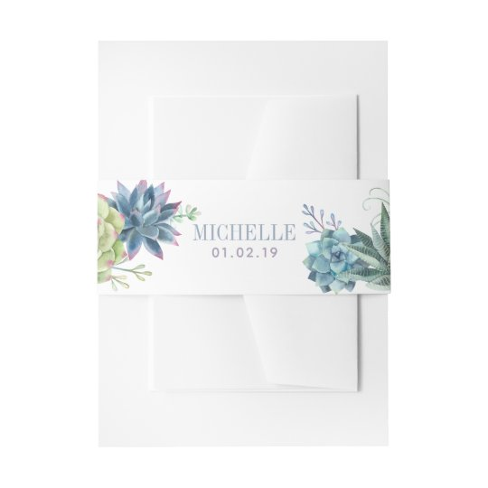 Watercolor Desert Cactus Succulents Invitation Belly Band