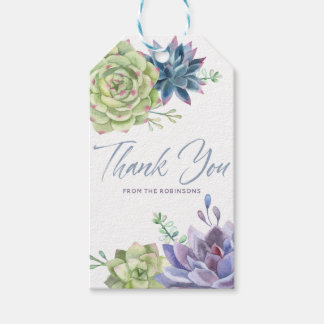 Watercolor Desert Cactus Succulents Thank You Gift Tags