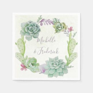 Watercolor Desert Cactus Succulents Wedding Paper Napkin