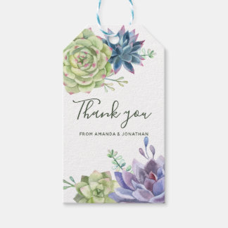 Watercolor Desert Cactus Succulents Wedding Thanks Gift Tags