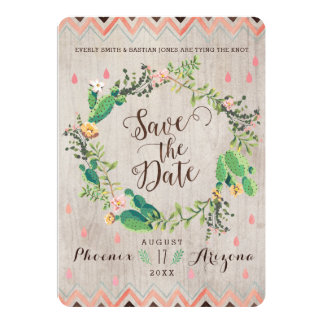 Watercolor Desert Cactus Wedding Save the Dates Card