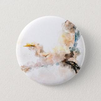 Watercolor design, crane bird flying 2 inch round button