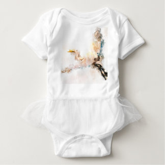Watercolor design, crane bird flying baby bodysuit