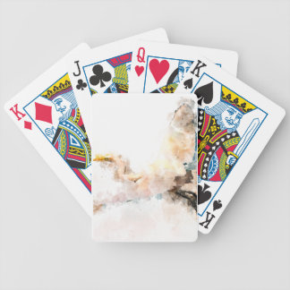 Watercolor design, crane bird flying bicycle playing cards