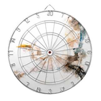 Watercolor design, crane bird flying dartboard