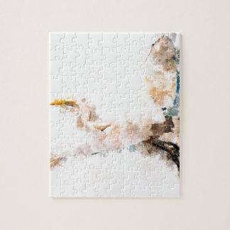 Watercolor design, crane bird flying jigsaw puzzle