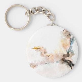 Watercolor design, crane bird flying keychain