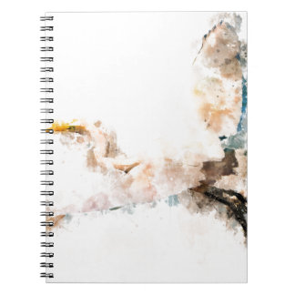 Watercolor design, crane bird flying notebook