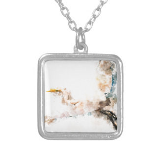 Watercolor design, crane bird flying silver plated necklace