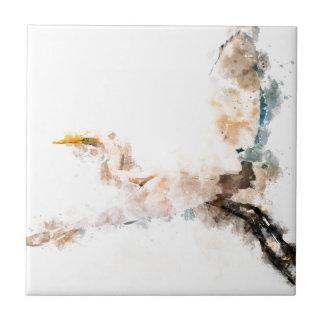 Watercolor design, crane bird flying tile