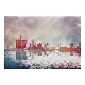 Watercolor Detroit Poster