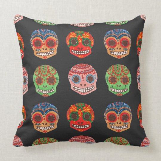 Watercolor Dia de los Muertos Skulls Pattern Throw Pillow