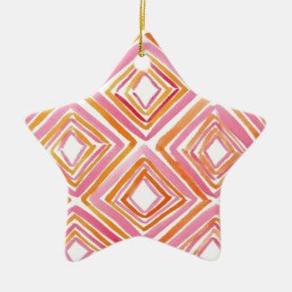Watercolor Diamonds Ceramic Ornament