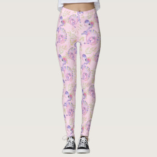 Watercolor Dinosaur Hand Drawn Illustration Patter Leggings