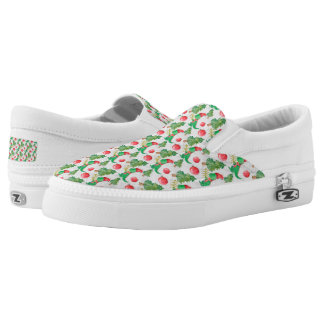 Watercolor Dinosaur with a Christmas Tree Slip-On Sneakers