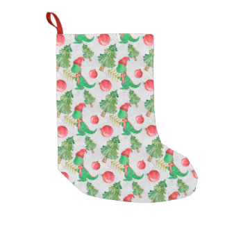 Watercolor Dinosaur With A Christmas Tree Small Christmas Stocking