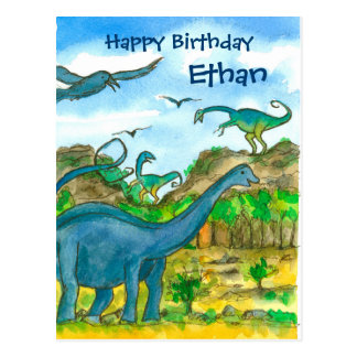 Watercolor Dinosaurs Happy Birthday Custom Name Postcard