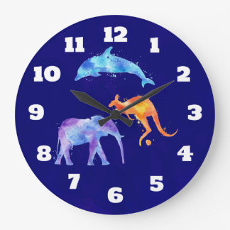 Watercolor Dolphin, Elephant and Kangaroo Large Clock