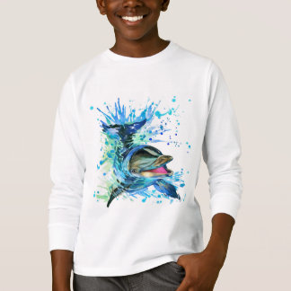 Watercolor Dolphin Long Sleeve T-Shirt