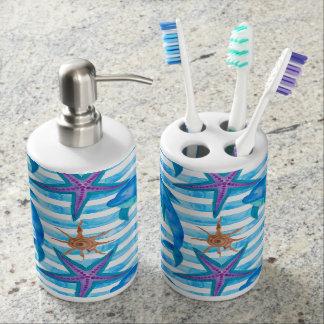 Watercolor Dolphin Pattern Bathroom Set
