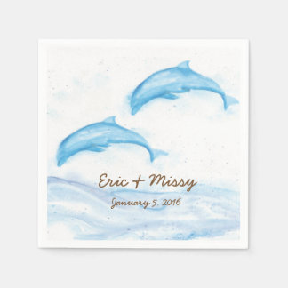 Watercolor Dolphin Wedding Paper Napkins