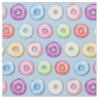 Watercolor Donut Pattern Fabric