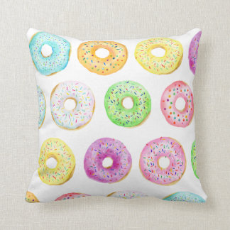 Watercolor donut sprinkles Cushion