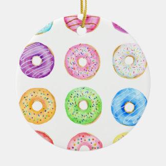 Watercolor donuts pattern ceramic ornament