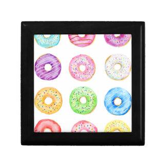 Watercolor donuts pattern gift box