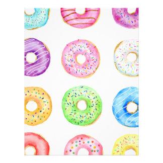 Watercolor donuts pattern letterhead