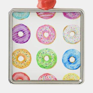 Watercolor donuts pattern metal ornament