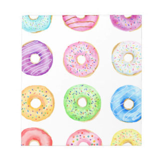 Watercolor donuts pattern notepad