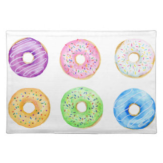 Watercolor donuts pattern placemat
