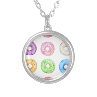 Watercolor donuts pattern silver plated necklace