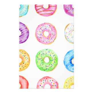 Watercolor donuts pattern stationery