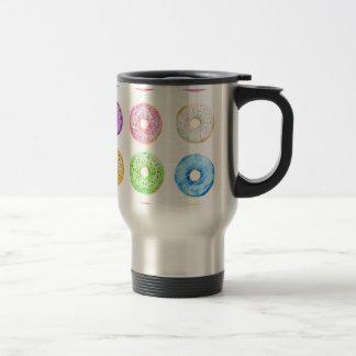Watercolor donuts pattern travel mug