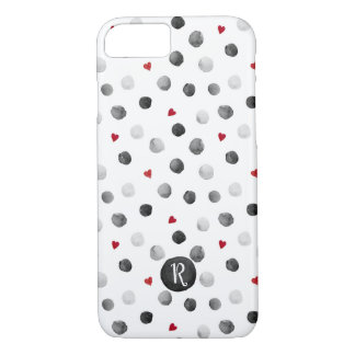 Watercolor dots and hearts gray, red monogram iPhone 8/7 case